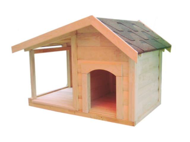 Будка для собаки с открытой верандой двускатная