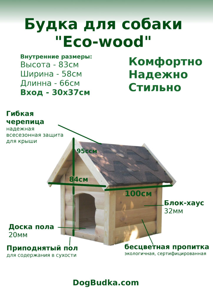 Двускатная будка собака дерево
