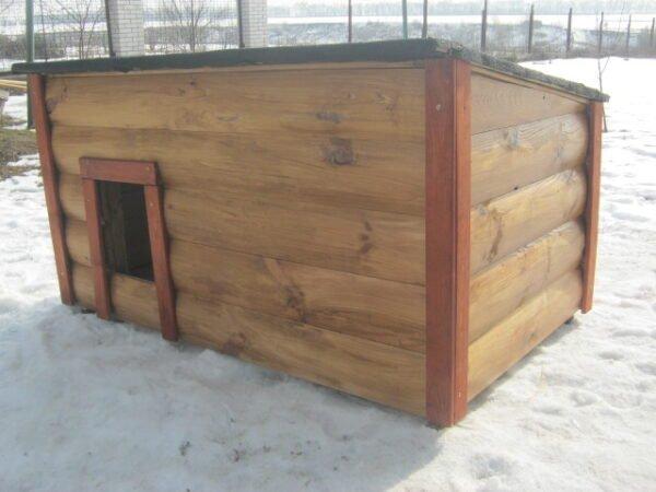 Будка для собаки односкатная утепленная с закрытой верандой