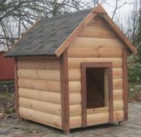 Собачья будка с двускатной крыши из гибкой черепицы